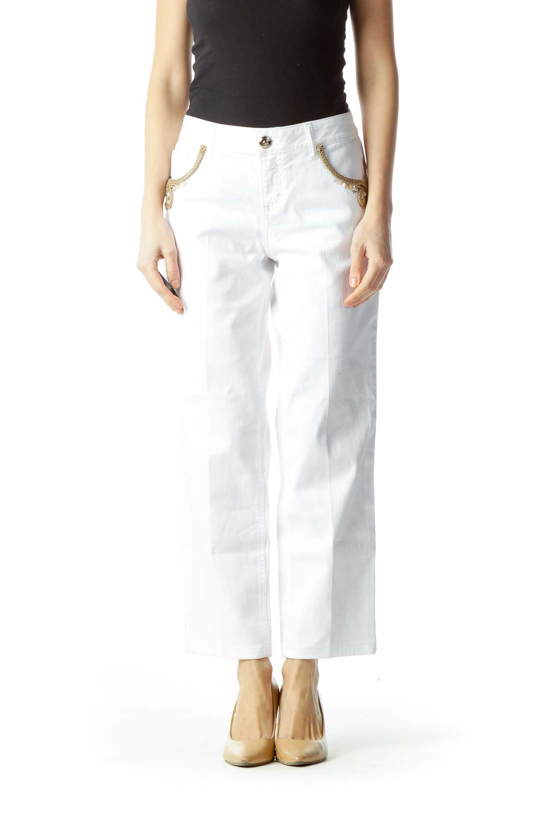 White Pocket Embellishment Skinny Pants