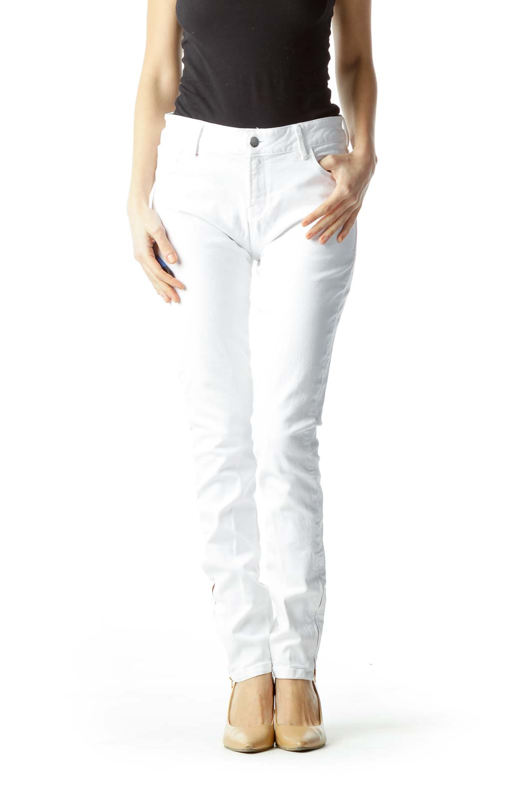 White with Red Zippered Ankles Slim Pants