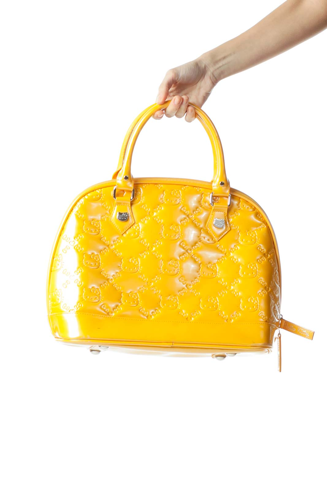 Yellow Padded Logo Stitching Tote Bag