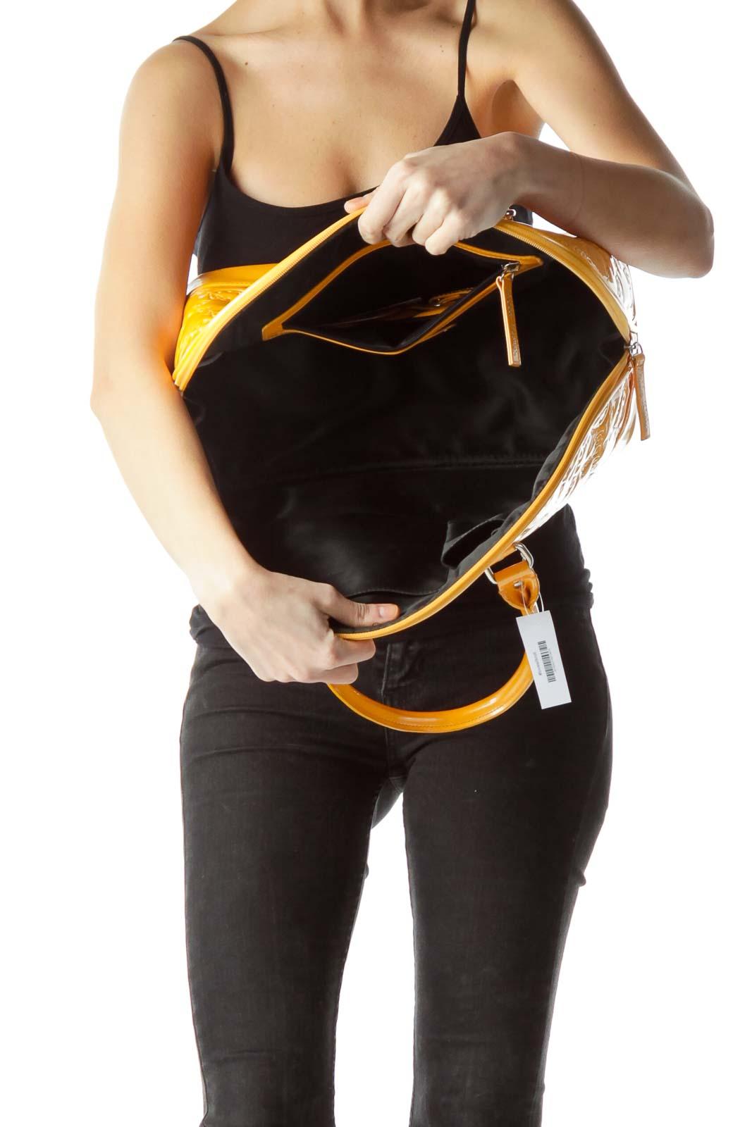 Yellow Padded Logo Stitching Tote Bag