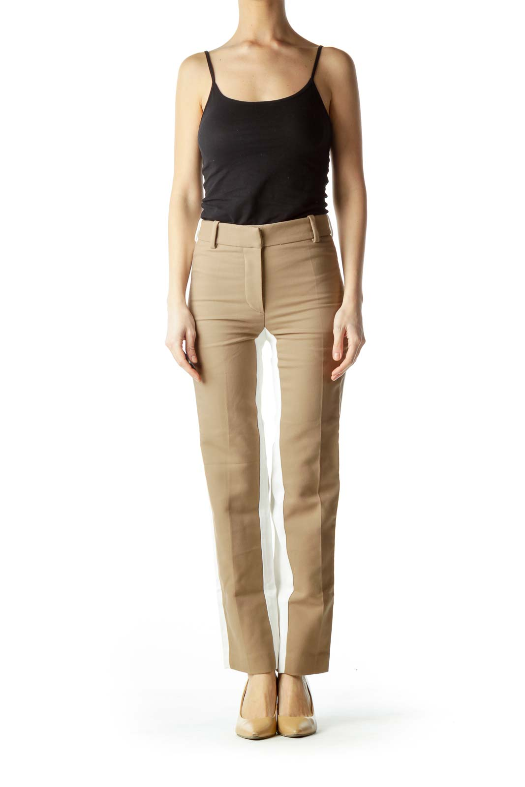 Brown Front Cream Back Skinny Pants