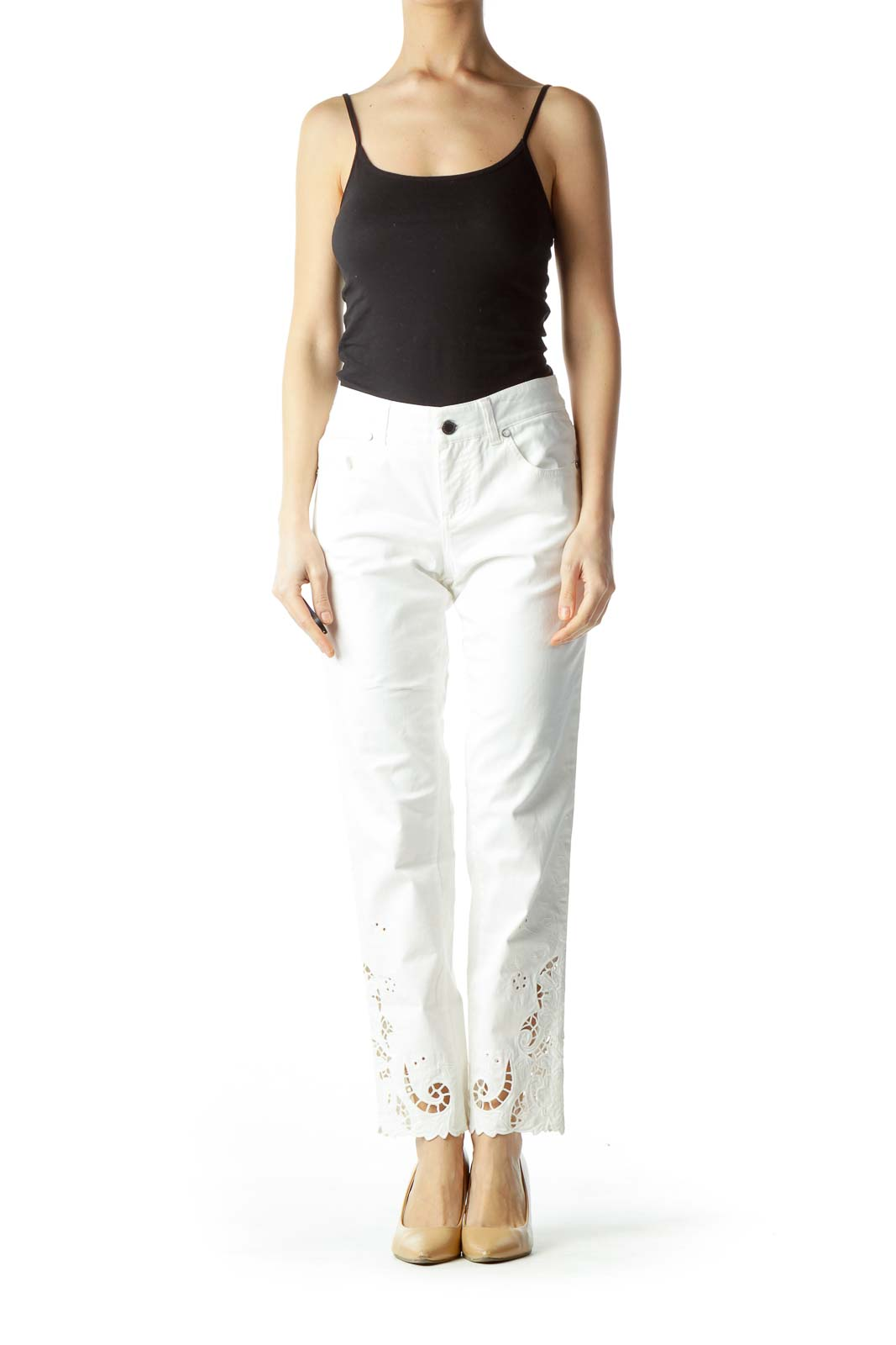Cream Lower Legs Embroidered Slim-Fit Pants
