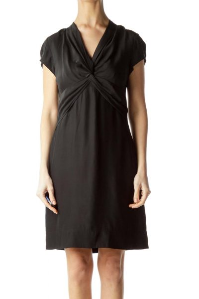Black Knot Front Short Sleeve Dress