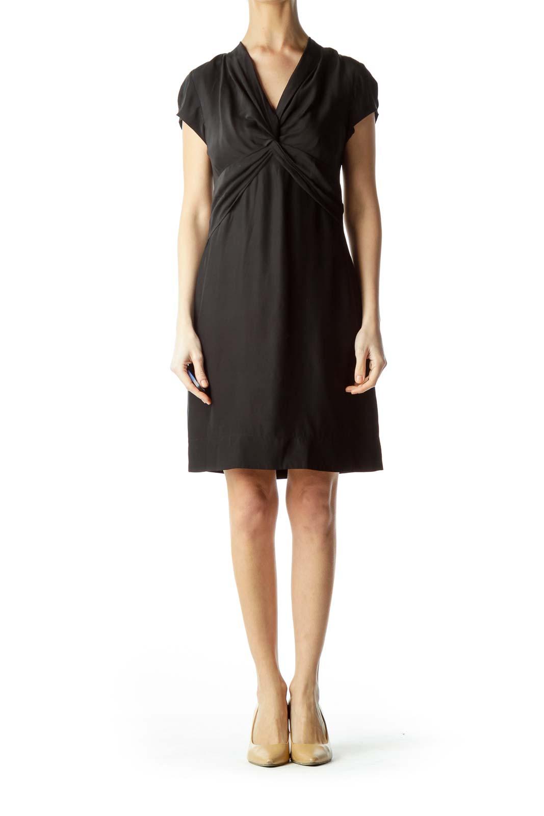 Black Knot Front Short Sleeve Dress