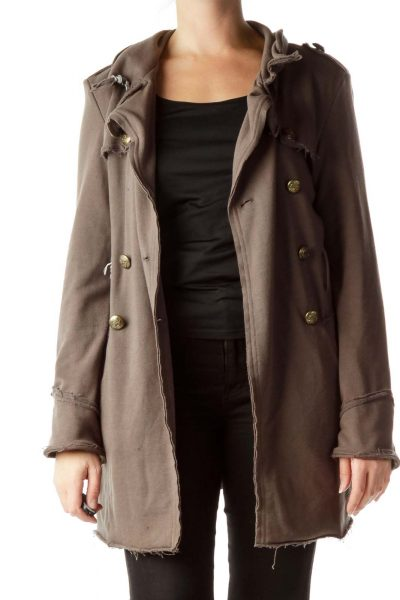 Light Brown Soldier Style Stitched Coat