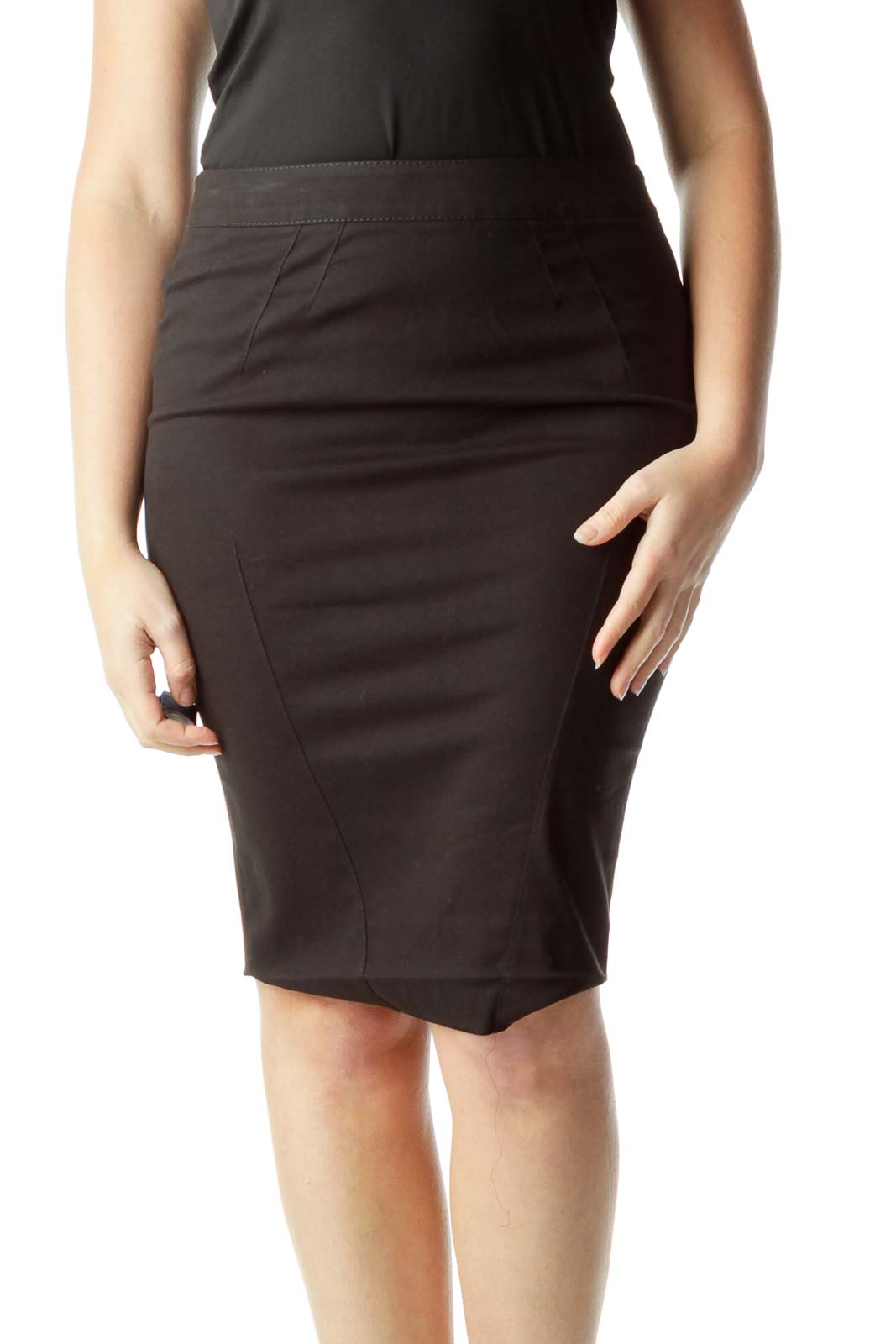 Black Stitched Pencil Skirt with Slit