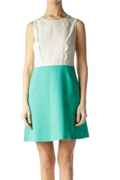 Beige and Mint Green Back Knit Dress