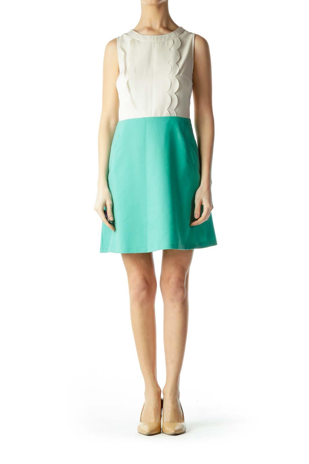 Beige and Mint Green Back Knit Dress