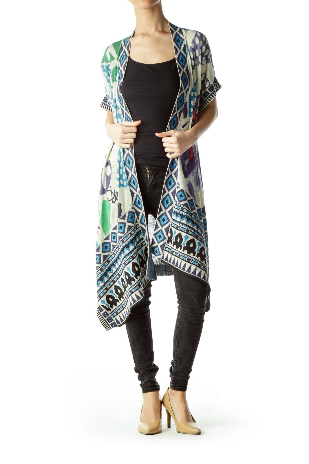 Multicolored Print Short Sleeve Knit Cardigan