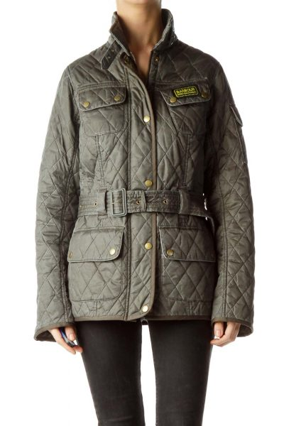 Gray Belted High Neck Padded Jacket