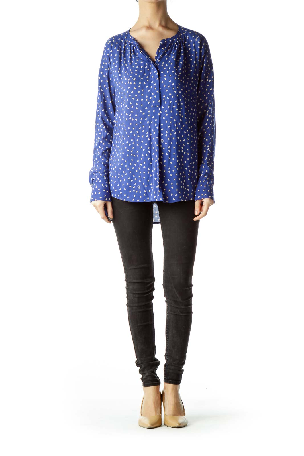 Blue Small Hearts Printed Long-Sleeve Blouse