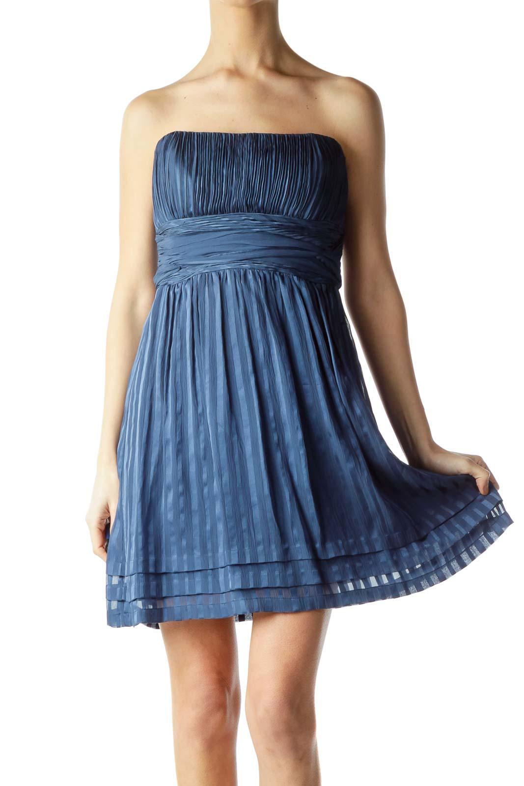 Blue Silk Pleated Strapless Cocktail Dress