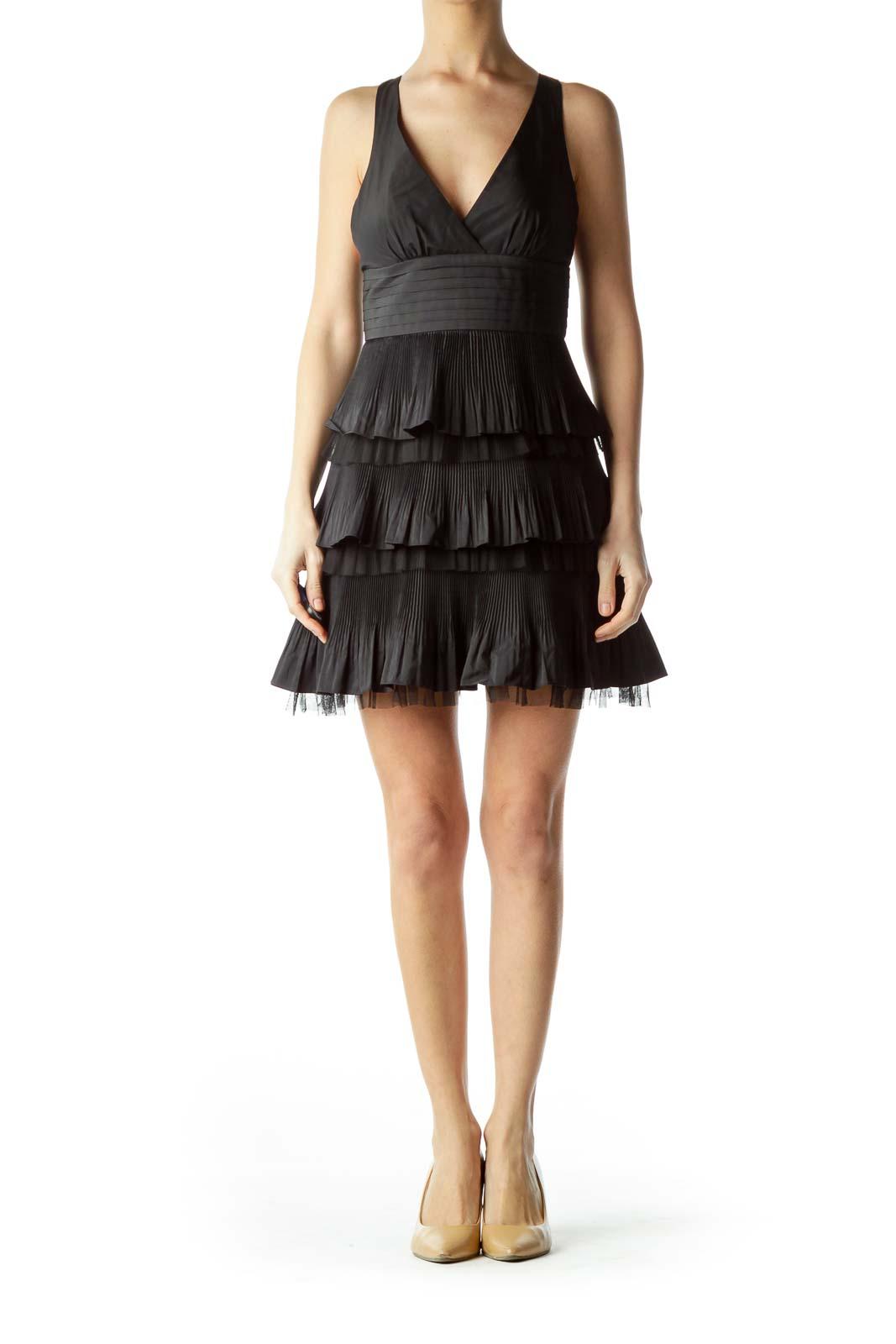 Black V-Neck Pleated Ruffles Cocktail Dress