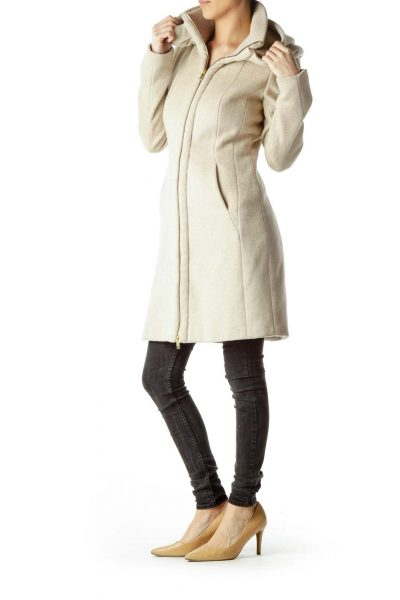 Beige Hooded Coat with Gold Zipper