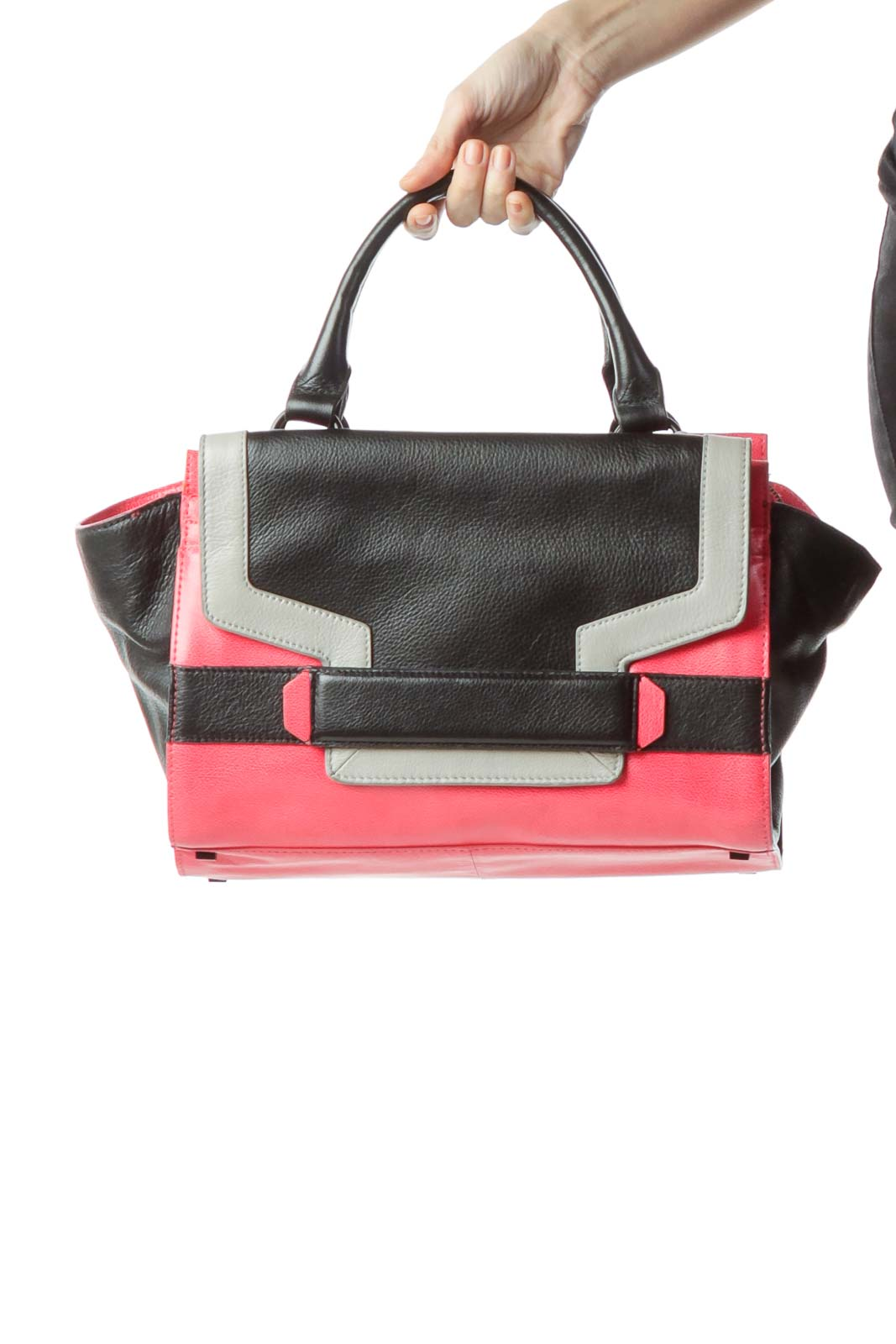 Pink Black 100% Genuine Leather Tote Bag