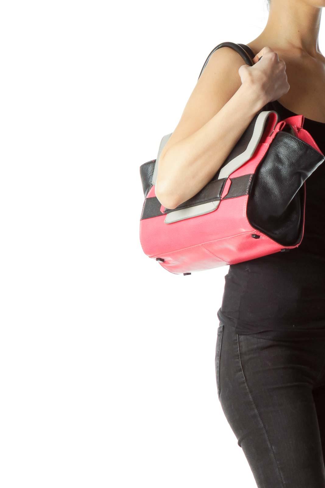 Pink Black 100% Genuine Leather Tote Bag