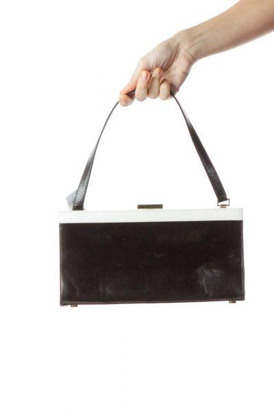 Black White Leather Rectangle Shoulder Bag