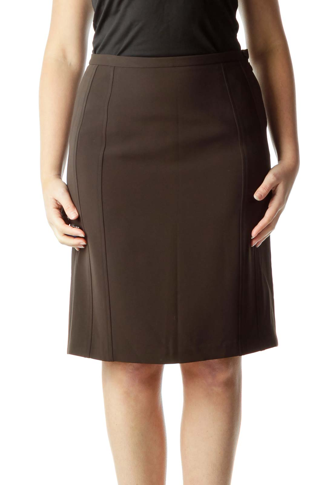 Brown Flared Silk Skirt