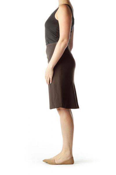 Brown Flared Silk Skirt