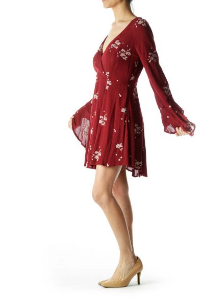 Red Print A-Line Dress
