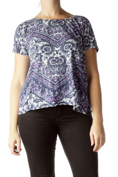Blue Purple White Print T-Shirt