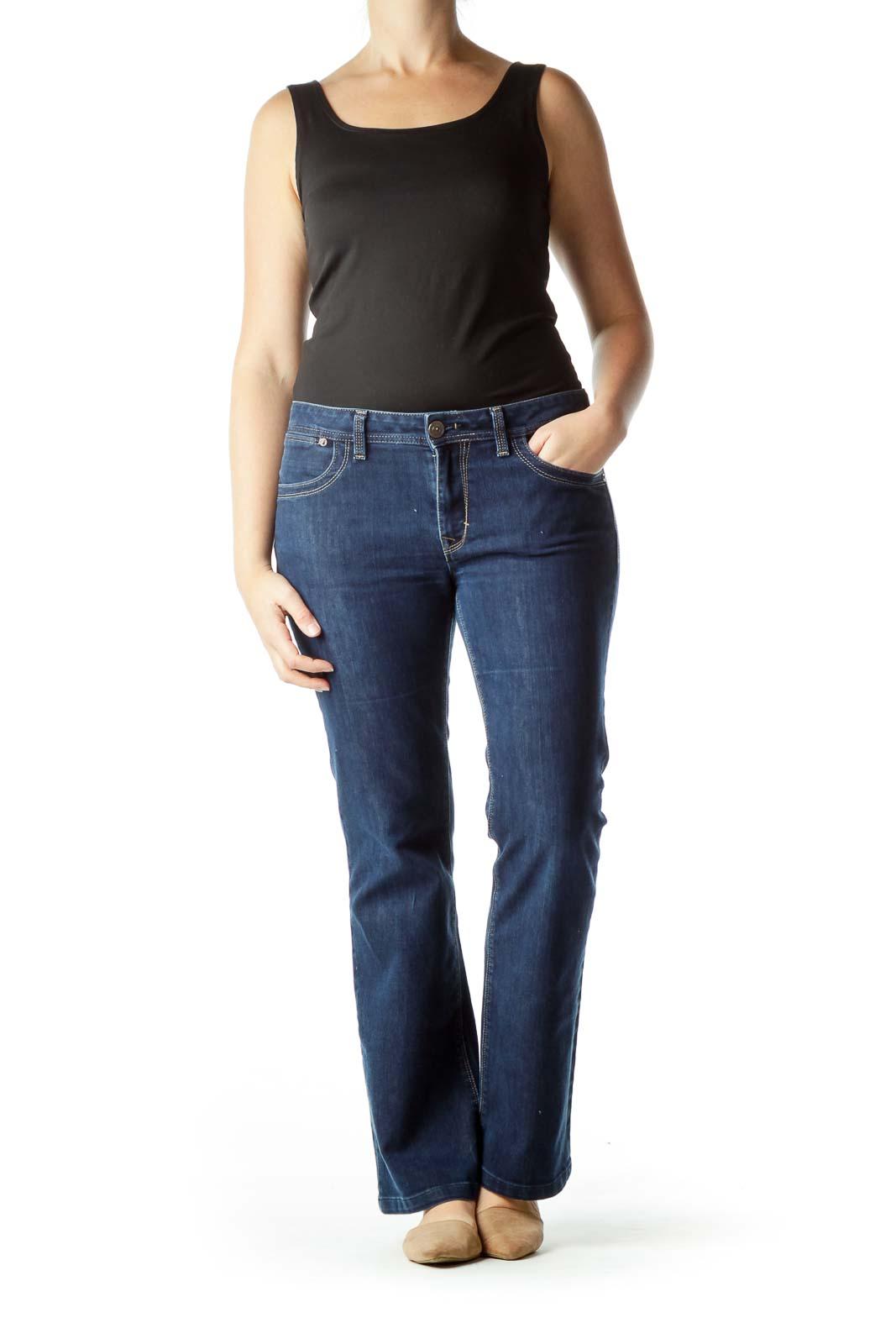 Navy Denim Flared Jeans