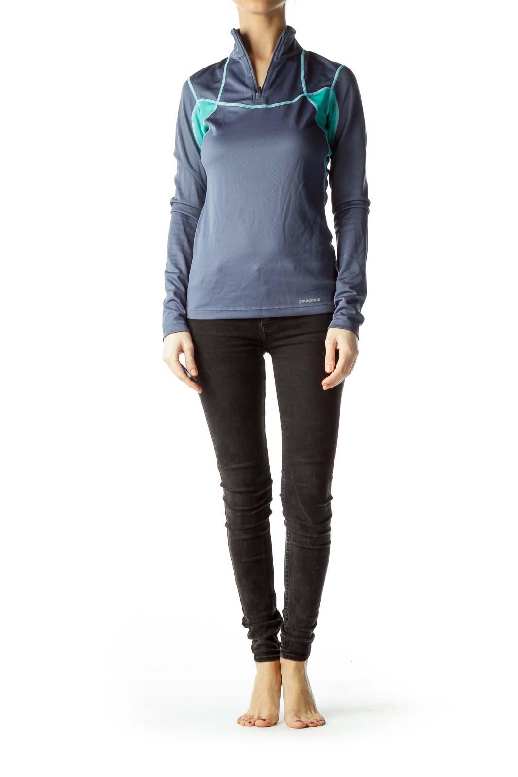 Blue Green Zippered Pullover Top