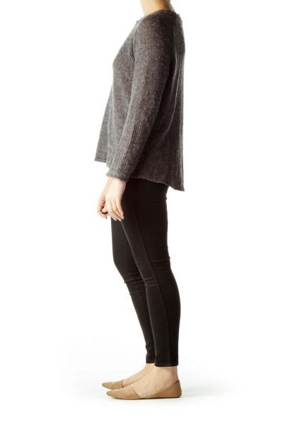Gray Round Neck Wool Sweater