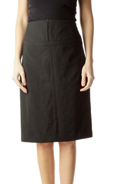 Black Slitted Pencil Skirt