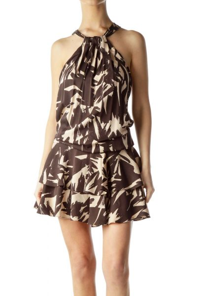 Brown Print Silk Halter Dress