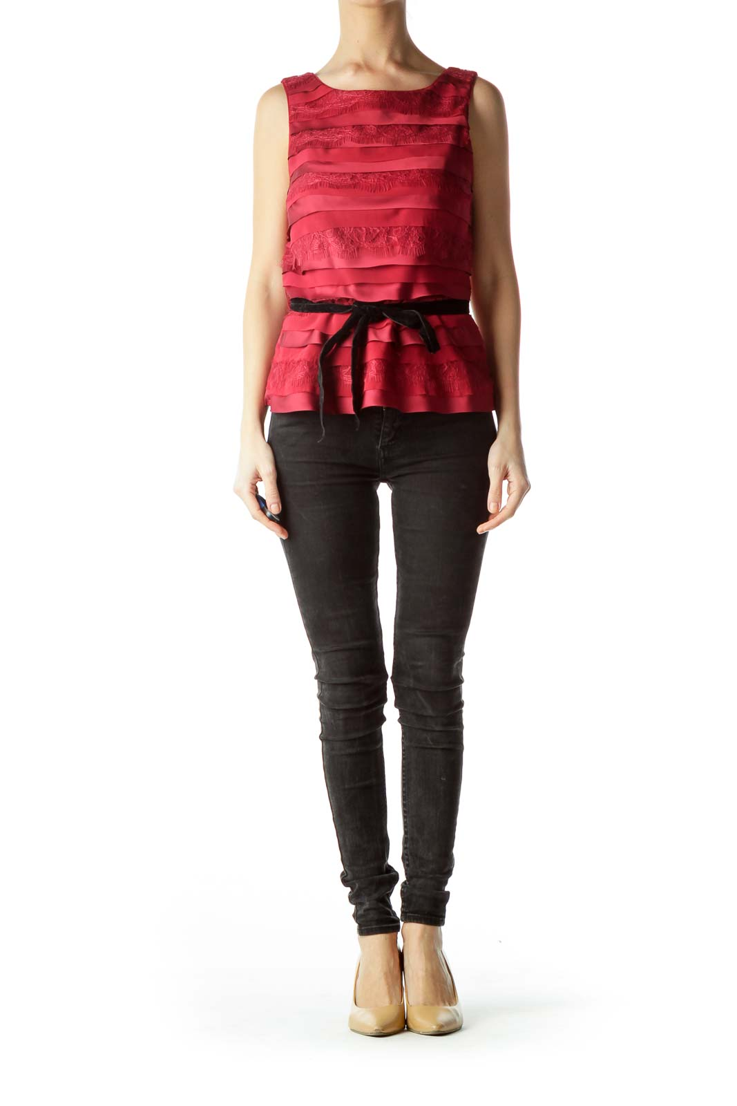 Red Lace Round Neck Tank Top