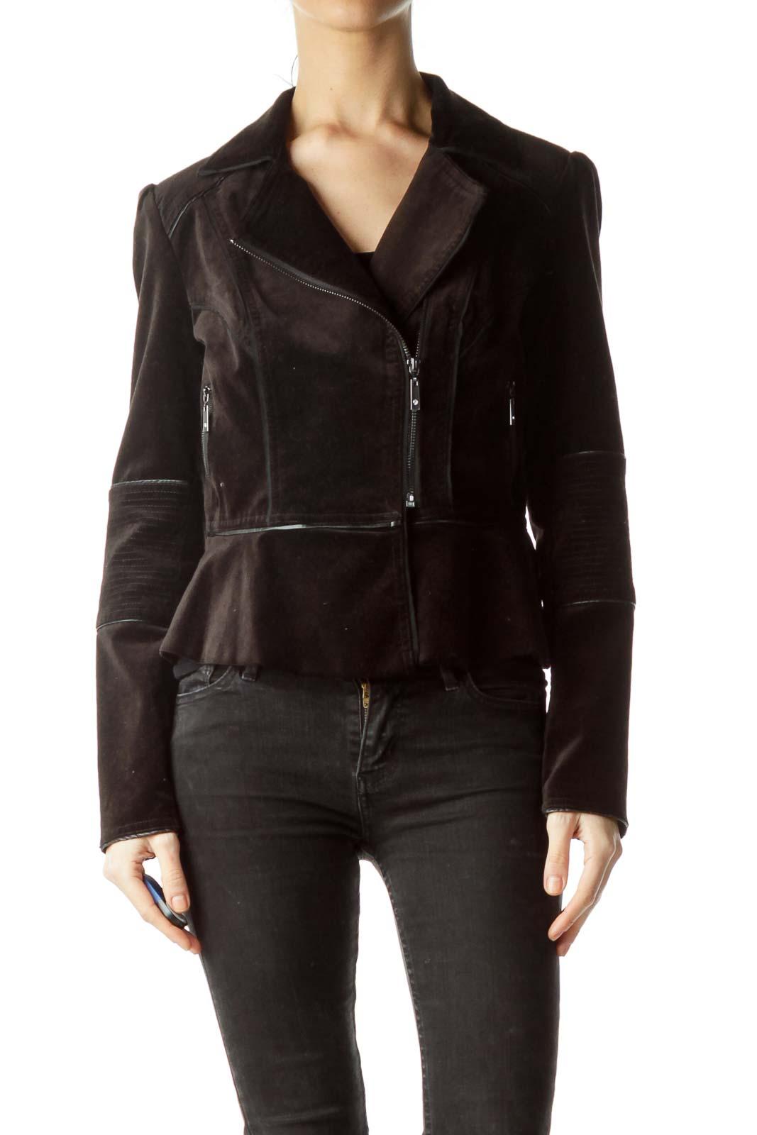 f9cf815f7 Shop Black Velvet Peplum Bomber Jacket clothing and handbags at ...