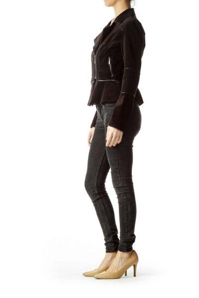 Black Velvet Peplum Bomber Jacket
