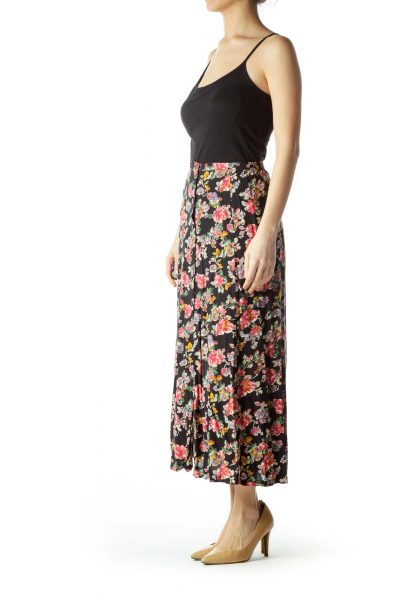 Black Pink Floral Buttoned Maxi Skirt