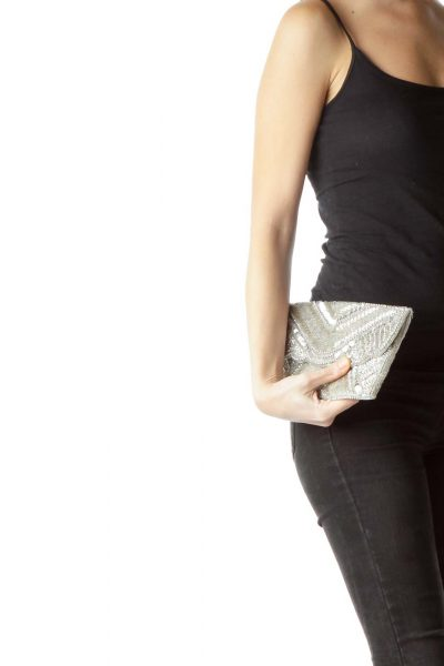 Silver Beaded Scallop Detail Clutch