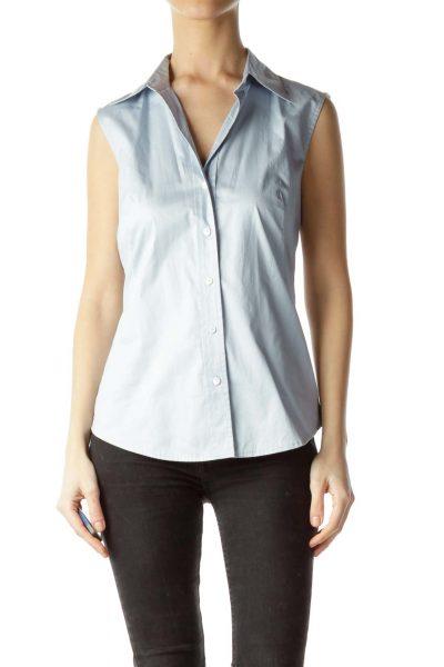 Light Blue 100% Cotton Sleeveless Shirt