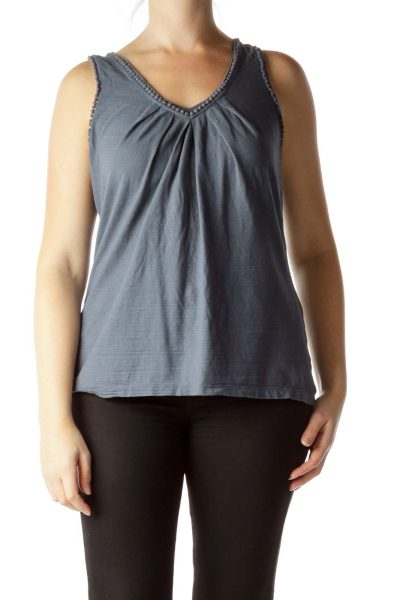 Washed Blue 100% Cotton Knit Tank Top