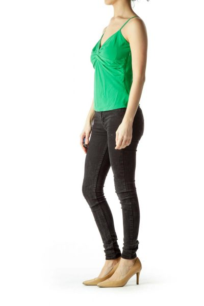 Green Spaghetti Strap Front Knot Blouse