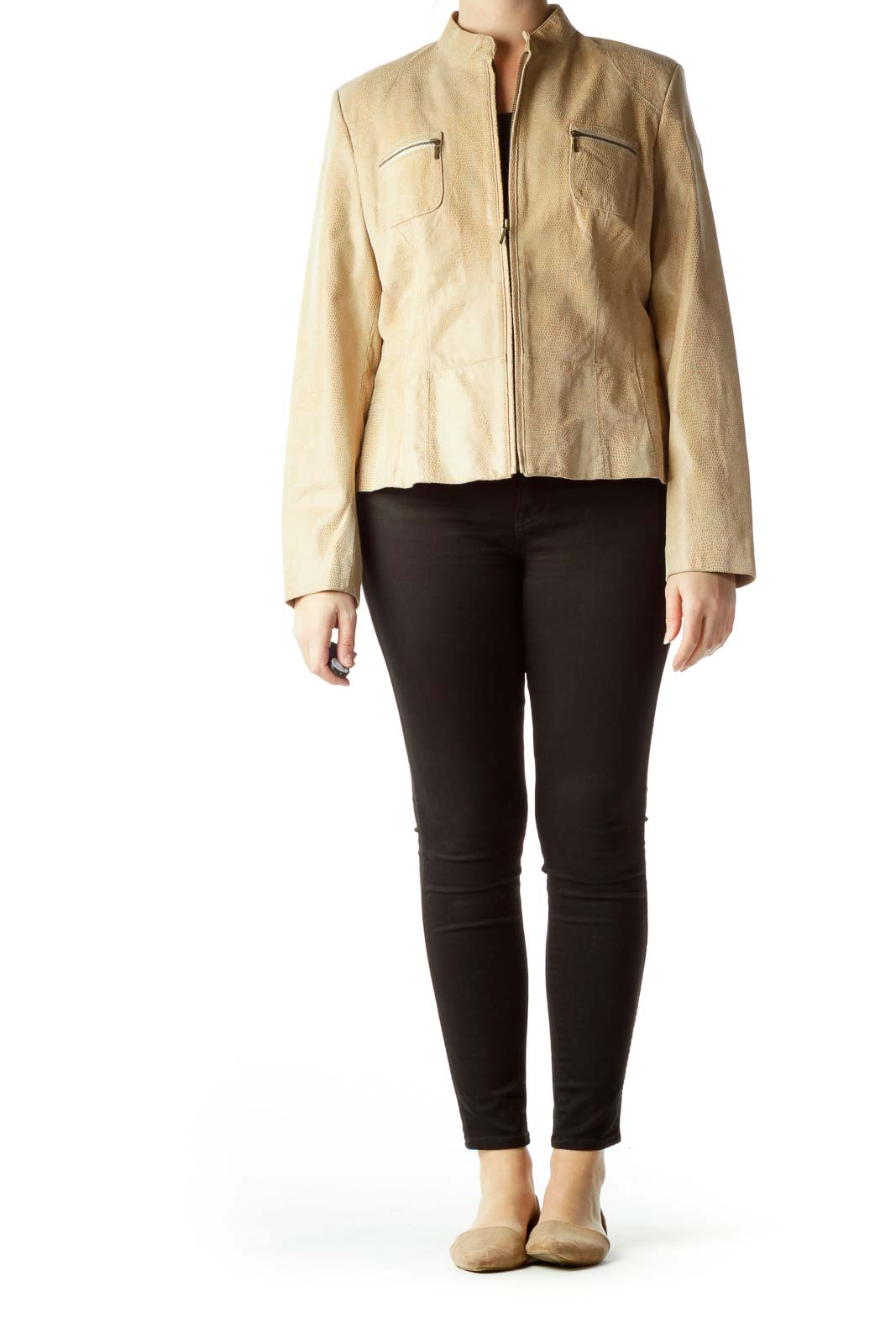 Beige Zippered Pockets Leather Jacket
