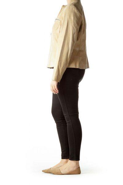 Beige Zippered Pockets Leather Jacket