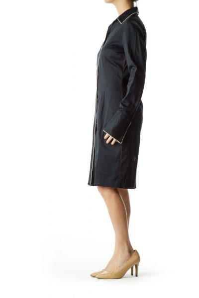 Navy Shirt Dress with Trim