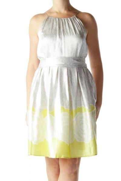Gray Print Silk A-Line Dress