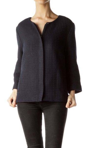 Navy Blue Knit 3/4 Sleeve Blazer