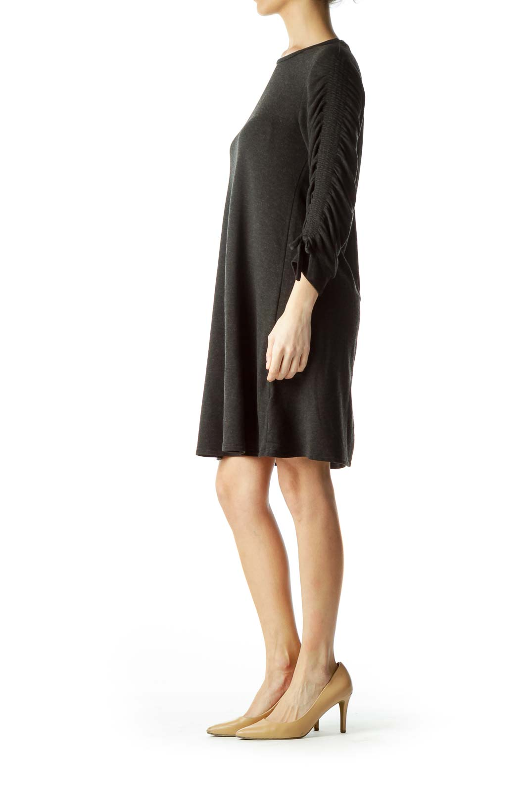 Gray Ruched Jersey Dress