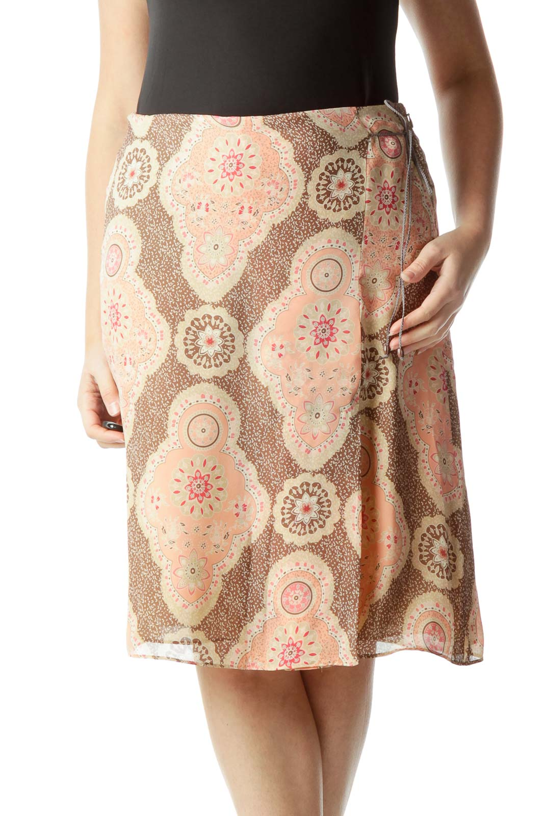 Brown Pink Printed Flare Skirt