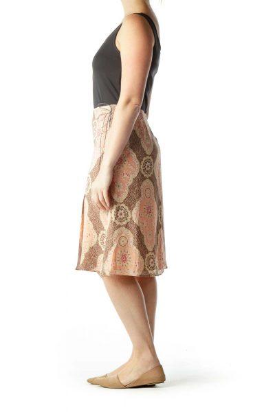 Brown Pink Printed Flare Skirt