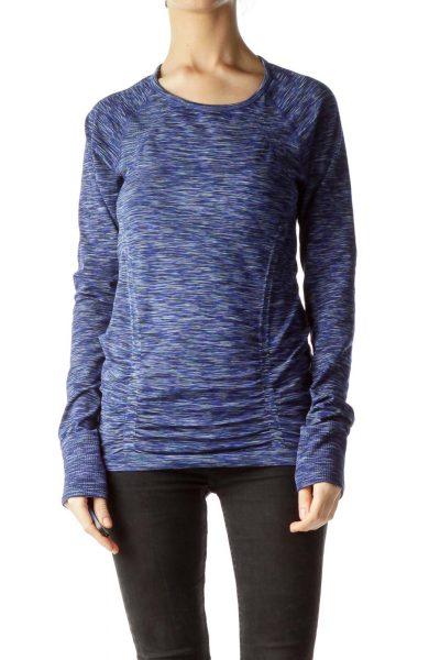 Blue and Multicolor Print Elastic Sport Top