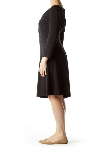Black Long Sleeve Ruched Dress