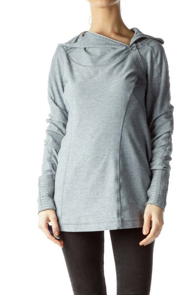 Gray Hooded Long-Sleeve Sports Jacket