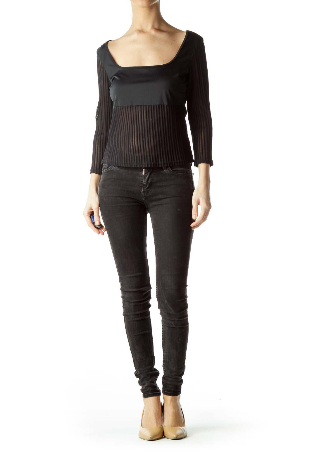 Black Sheer Cropped Shirt